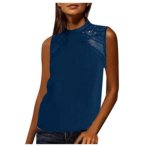MOMOEW Women's Sexy Summer Casual Sleeveless Stitching Tank Tops T-Shirt Cami Vest Summer Beach Tops Summer Fashion Casual All-Match Strapless Solid Color Vest