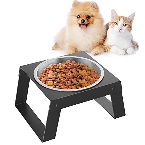 VavoPaw Ciotola Rialzata per Gatti Cucciolo in Acciaio Inossidabile, Ciotola con Supporto Pieghevole Ciotola da 550ml con Mensola Alimentazione Acqua e Cibi per Cane Piccolo Gatto - Nero