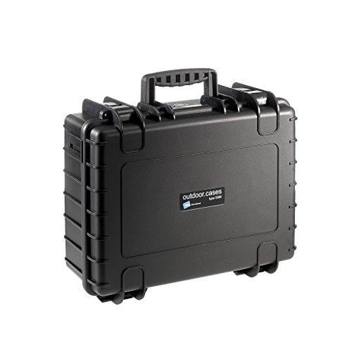 B&W Outdoor Case Hartschalenkoffer Typ 5000 mit Schaumstoff (Hardcase Koffer IP67, SI Würfelschaum, wasserdicht, Innenmaß 43x30x17cm, Schwarz)