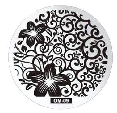 Stamping Schablone   09   Flower Tribal/Blumenranken   silber   rund   für Nail Art wie im Nagelstudio