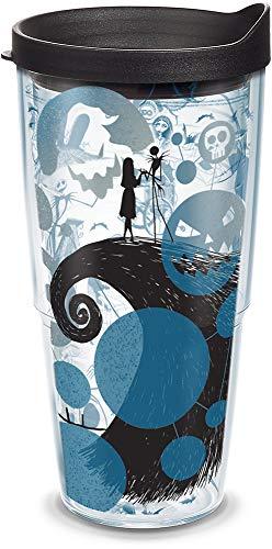 Tervis Disney – Copo isolado do Estranho Mundo de Jack de 25 anos com envoltório e tampa preta, 680 g, transparente
