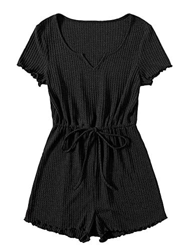 SOLY HUX Women's Notched Neck Short Sleeve Tie Front Short Jumpsuit Rompers Black XL