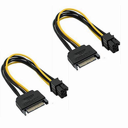 SATA-Stromkabel, Sata15-polig auf 6-polige PCI Express-Grafikkarten-Netzkabel-Adapter, für IDE-Festplatte, 2 Stück