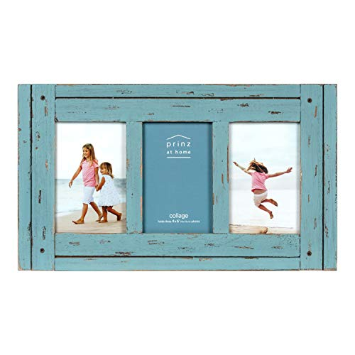 PRINZ Homestead 4-Inch by 6-Inch Distressed Wood Collage Picture Frame for Three Photos, Blue