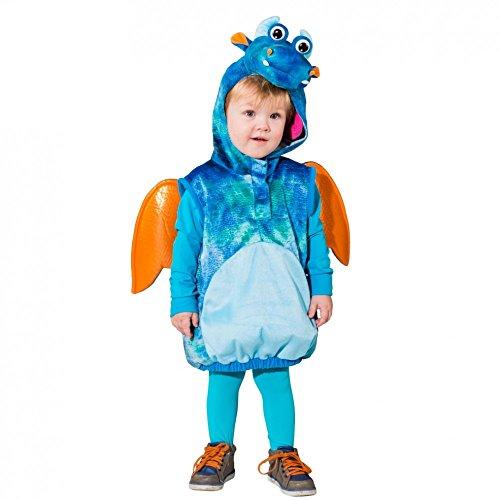Kinderkostüm Drache Flamy 104 Weste mit Kapuze blau Drachenkostüm Fasching