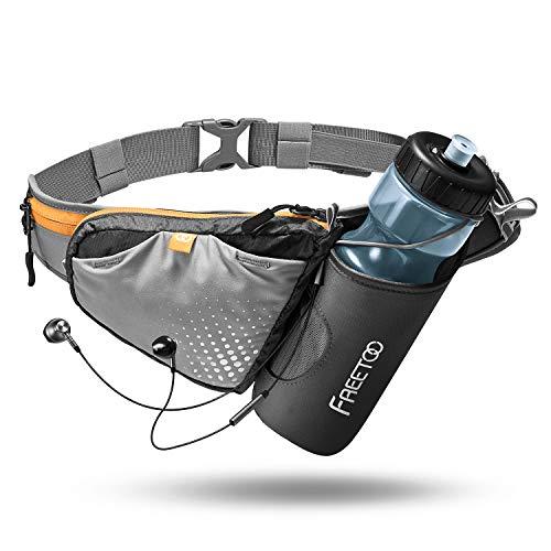 FREETOO Trinkgürtel Hüfttasche Gürteltasche mit Stabile Flaschenhalter und Persöliche Kapazität Design Verstellbar Hüfttasche für Jogging Wandern Camping Radfahren Spazieren