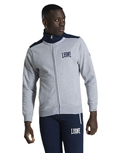 LEONE - Tuta da Uomo con Logo Piccolo Basic - Grey Mel.-Navy (0410), S