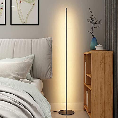 WRQ Lámpara Pie Esquina LED RGB Nórdica Minimalista, Estilo Moderno con Mando A Distancia Y Regulador Color, Ideal para Salón Y Dormitorio, 140Cm (Negro)