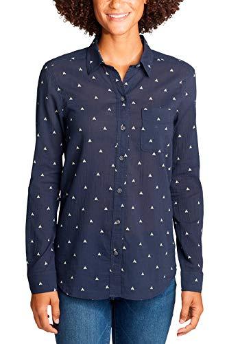 Eddie Bauer Damen Packbare Boyfriend Langarmbluse Mit Brusttasche In Verschiedenen Mustern Bluse, Blau (Atlantik 566), Large (Herstellergröße: L)