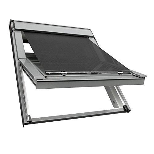 Sonnenschutz-HH Hitzeschutz Markise Hitzeschutzmarkise für VELUX Dachfenster Rollo GGL/GPL/GHL/GGU/GPU/GHU S06/SK06/S08/SK08 - schwarz / anthrazit