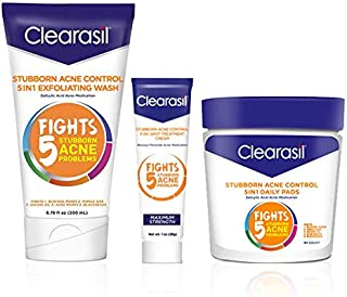 Clearisil Stubborn Acne Control Kit- 5-in-1 Daily Facial Cleansing Pads (90 Count), Exfoliating Wash (6.78 oz.) & Spot Treatment Cream (1 oz.) Salicylic Acid & Benzoyl Peroxide Treatment, 1 Each