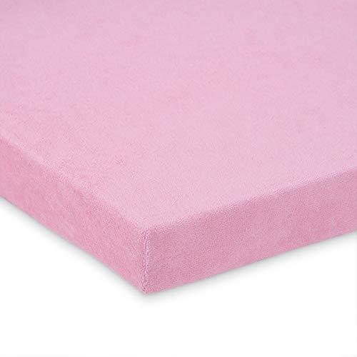 FabiMax 2654 Frottee Spannbettlaken für Stubenwagen und Bollerwagen, 50 x 90 cm, rosa