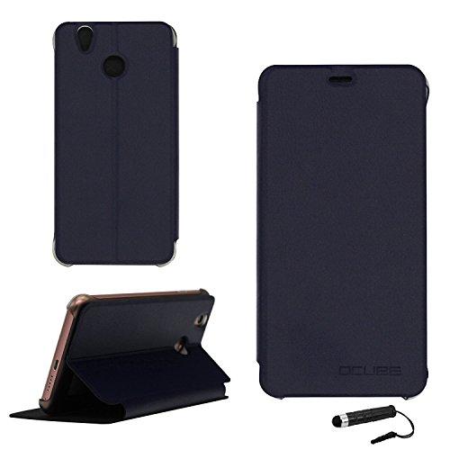 Ycloud Tasche für Oukitel U7 pro / U7 Plus Hülle, PU Ledertasche Metal Smartphone Flip Cover Hülle Handyhülle mit Stand Function Marineblau