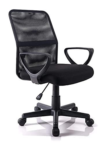 Silla de Escritorio en Casa Mediana Silla de Malla Regulable en Altura Silla de Oficina Giratoria Silla para Ordenador - Negro-2