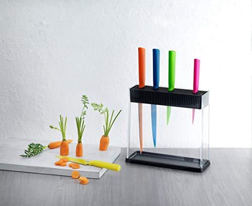 Kuhn Rikon 26594 - Bloque para cuchillos, color negro y transparente
