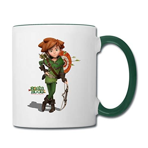 Robin Hood Schlitzohr Von Sherwood Mit Bogen Tasse zweifarbig, Weiß/Dunkelgrün
