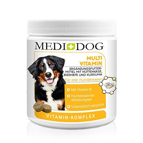Medidog 300 Vitamin B Komplex für Hunde Tabletten, Mit Multivitamin-Formel Haut + Fell Biotin, Folsäure, Inositol, Cholin, Pantothensäure, glänzendes Fell und gesunde Haut