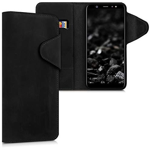 kalibri Wallet Hülle kompatibel mit Samsung Galaxy A6+/A6 Plus (2018) - Hülle Leder - Handy Cover Handyhülle in Schwarz