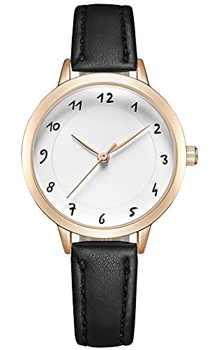 KDM Reloj de pulsera sencillo e informal para mujer, resistente al agua, correa de piel, analógico, de cuarzo, con números arábigos, esfera de reloj de pulsera para mujer, 1 blanco y negro., M,