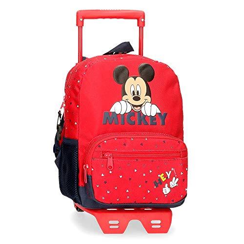 Disney Mochila Happy Mickey Preescolar 28 cm con Carro, Rojo