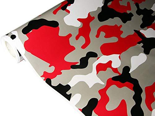 folimac 8,50€/m² Camouflage Autofolie Selbstklebend mit Luftkanäle Schwarz Grau Rot Weiß #19 (200cm x 152cm)
