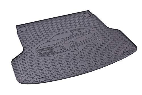 Passgenau Kofferraumwanne geeignet für Hyundai i30 SW/Kombi ab 2019 ideal angepasst schwarz Kofferraummatte + Gurtschoner