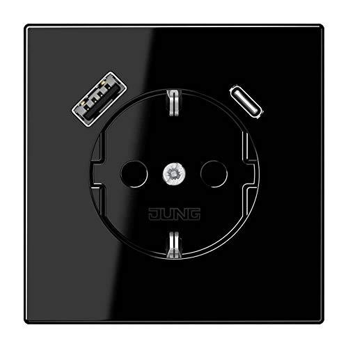 Jung LS1520-15CASW SCHUKO-Steckdose mit USB Typ AC (3A) Quick Charge mit erhöhtem Berührungsschutz (Thermoplast bruchsicher) Schwarz Serie LS