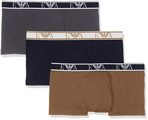 Emporio Armani Underwear Herren 3 Pack Trunk Colored Basics Monogram Badehose, Grau (Antracite/MARIN/KAKI 22744), X-Large (Herstellergröße:XL)