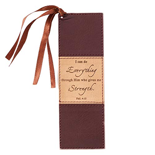 Christian Art Gifts Brown Faux Leather Bookmark | I Can Do Everything - Philippians 4:13 Bible Verse Inspirational Bookmark for Men and Women w/Satin Ribbon Tassel