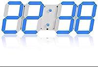 壁掛け時計、デジタル時計、3D LED目覚まし時計適切なホーム、レストランAndairport ECT、インテリジェントな明るさ調整、ミュートアンドハイク正確性(色:黒赤文字) (Color : White Blue Letter)
