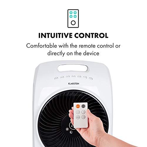 Klarstein Rotator - Luftkühler, 3 Windgeschwindigkeiten, 4-in-1-Gerät: Luftkühler, Ventilator, TACT-Ionisator und Luftbefeuchter, Cool Breeze, 8h-Timer, 110 Watt, weiß