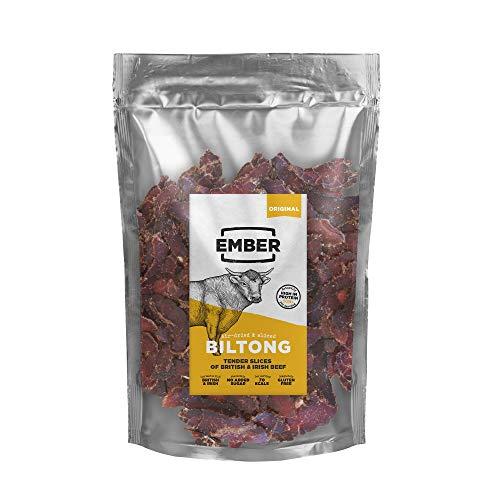 Ember Biltong 500g – Carne Secca Beef Jerky Originale – Snack Proteico, Senza Zuccheri Aggiunti – Gusto Original (1x500g)