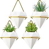 Maceta de Pared Geométrica Maceta Colgantes de Pared de Diamantes Imitar de Plantas Jarrones de Cerámica Triangular con Ganchos Macetas de Plantas de Aire con Decoración de Pared con Marco Dorado (4)