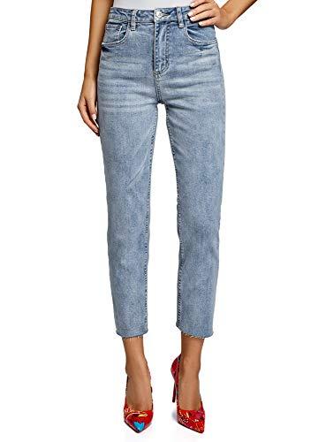 oodji Ultra Damen Jeans Mom Fit mit Hohem Bund, Blau, 27W / 32L