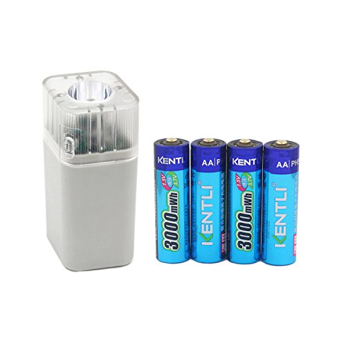 Flashlight Keenstone AA 4 Pack Rechargeable Li-ion Batteries 1.5V 1000 Cycles with 2 Slot Charger Remote Control for Blink Camera Toys