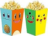24 cajas de palomitas de maíz pokemon para caja de pastel, contenedores de galletas dulces para baby shower, noches de cine, carnavales, suministros para fiestas de cumpleaños