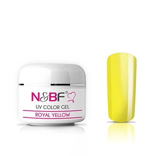 N&BF UV Glasgel 5ml mittelvikos | Farbgel Glas Effekt | Royal Yellow gelb | Made in EU | Premium Colorgel für 3D Glas - Look | Nagelgel farbig transparent | Colourgel für Gelnägel