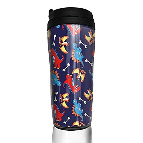 Taza de café con tapa Dinosaurios de dibujos animados y huesos Vaso de viaje Taza con aislamiento al vacío Botella de agua
