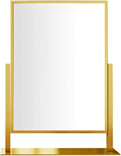 Vanity Mirror 360° Rotation HD Rectangle Makeup Mirror with Non Slip Pedestal Rectangle Metal Tabletop Mirrors for Girls Womens Bedroom Desktop Beauty Tools oO (Color : Gold, Size : 36cm)