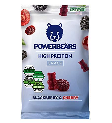 Powerbeärs High Protein Brombeere & Kirsche - Proteinreiche Gummibärchen, 16er Pack (16 x 50g)