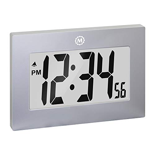 Marathon Large Digital Wall Clock with Fold-Out Table Stand. Size is 9 inches with Big 3.25 Inch Digits - Batteries Included - CL030064GG (Graphite Grey)