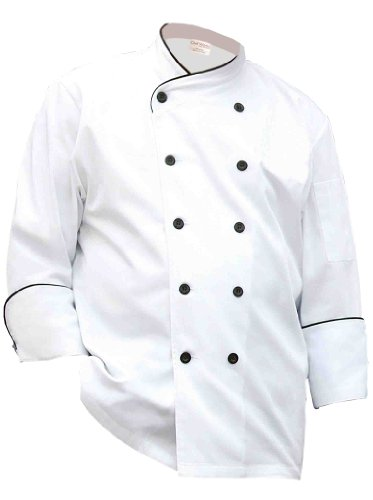 Chef Works MACG-WHT Pisa Executive Chef Coat, White, with Black Piping, 5XL -