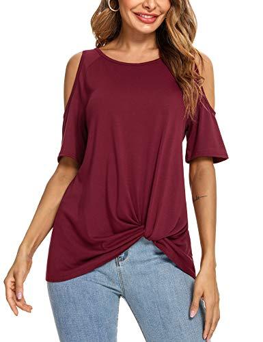 Irevial Camisetas Mujer Manga Corta Camisa Cold Shoulder Casual tee Shirt Verano Blusas con Cuello Redondo Rojo Vino, L