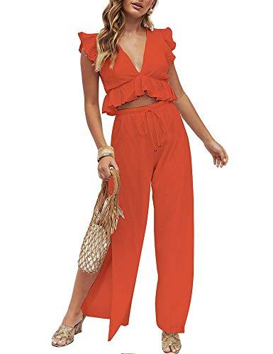 FANCYINN Damen 2-teilige Outfits Deep V-Ausschnitt Crop Top Side Slit Kordelzug Weitbein Hosen Set Jumpsuits