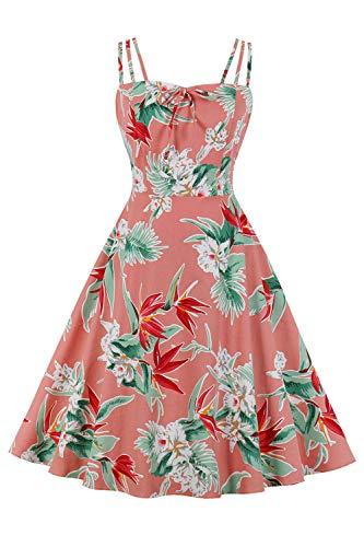 MisShow Elegant Rockabilly Kleider Damen Blumen Sommerkleid Volant Kleid mit Traeger Blumen 4# L
