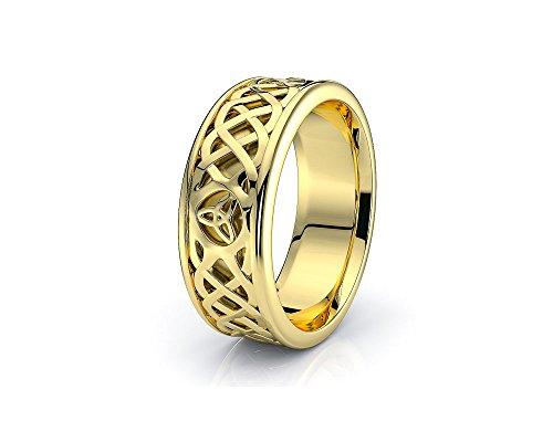 Alganati 10K White Yellow Gold Trinity Celtic Knot Wedding Band Rings
