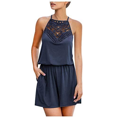 Toimothcn Women's Summer Halter Neck Shorts Elastic Waist Solid Color Jumpsuit Rompers Dress(Navy,Large)