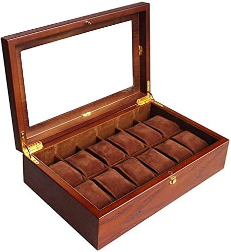 PLMOKN Mira la Caja de joyería 12 Caja de la Pantalla de Almacenamiento de Madera 12 Compartimentos Pulsera Bandeja Top de Vidrio y eliminación Almohadas de Almacenamiento