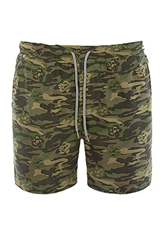 Herren Schwimm Shorts Brave Soul Tarnung Trunks Armee Militär Netz Sommer Neu - Khaki - RICHMOND, Large