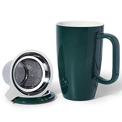 Sunddo Porcelain Tea Mug with Infuser and Lid, 15 OZ, Jade